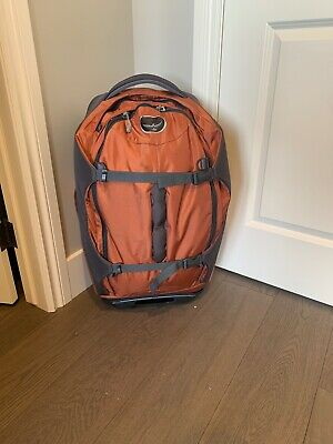 """OSPREY SOJOURN 60L/25"""" Red Backpack/Rolling Travel Luggage Wheeled"""