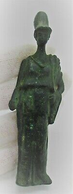 European Finds Ancient Roman Bronze Statuette Of Minerva Circa 200 - 300 Ad