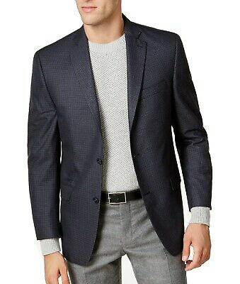 Michael Kors Mens Blazer Blue Size 38 Plaid Two Button Notch-Collar $295 110
