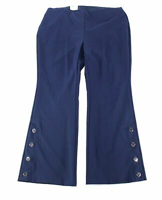 INC Womens Pants Navy Blue Size 14W Plus Wide-Leg Pull-On Stretch $89 160