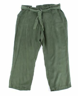 Style & Co. Womens Pants Army Green Size 16W Plus Straight Belted $59 058