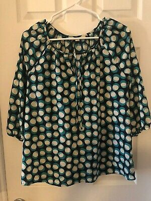 Ann Taylor Loft Size Large Tie Neck 3/4 Sleeve Top Blouse Navy Teal White Circle