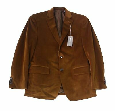 Michael Kors Mens Blazer Brown Size 42 Velvet Notch-Collar Two Button $275 018