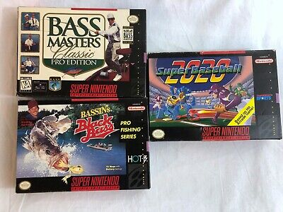 3x Nintendo SNES Boxed Games Bass Masters Classic and Super Baseball 2020
