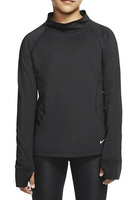 Nike Girls Activewear Long Sleeve Black Size XL Mock-Neck Thumbholes $40 067