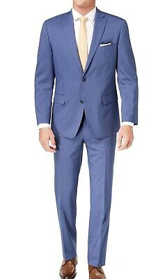 Michael Kors Mens Suit Blue Size 40 Stretch Striped Two Button Wool $600- 234