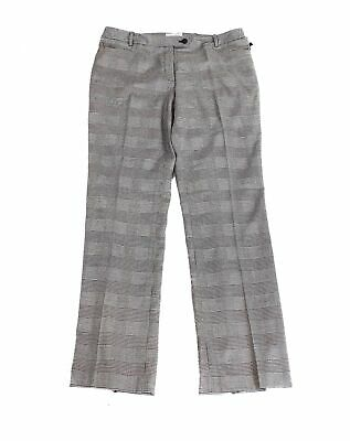 Calvin Klein Womens Dress Pants Black Size 8 Modern-Fit Tapered Plaid $59 335