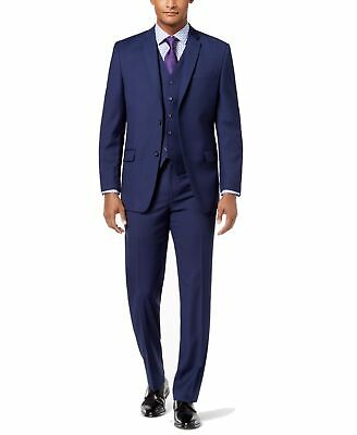Marc New York Mens Suits Navy Blue Size 38R Vested 3 Piece Stretch $425 052