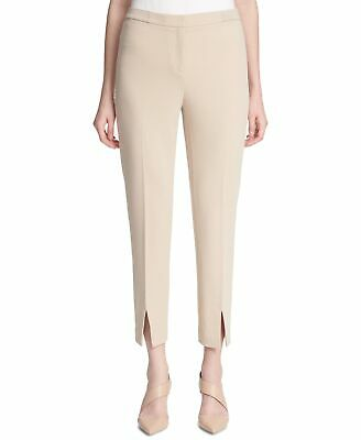 Calvin Klein Womens Pants Beige Size 12 Skinny Slit Cropped Stretch $79 761