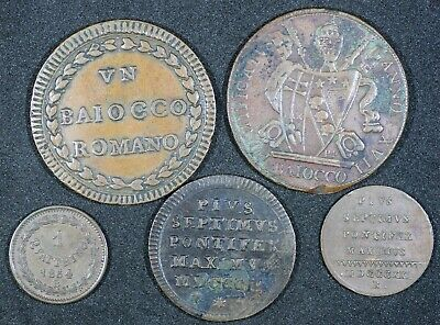Papal States 5 Bronze Coins 1785-1854 Some Scarcer