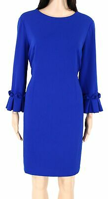 Tahari by ASL Women Sheath Dress Blue 10P Petite Pleated Flounce Sleeve $128 589