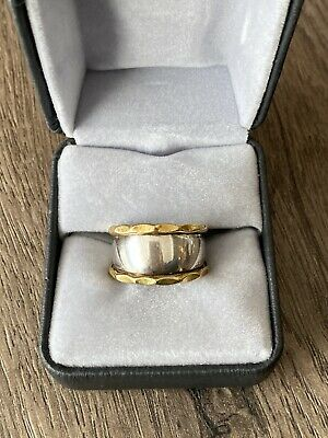 925 Sterling Silver Ring Stamped Mexico Gold Tone Wide Band Vintage
