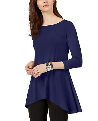 Alfani Womens Top Navy Blue Size Medium M Tunic High-Low 3/4 Sleeve $59 906