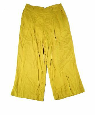 L Space Womens Pants Yellow Size Medium M Wide Leg Side Zip Stretch $50 952