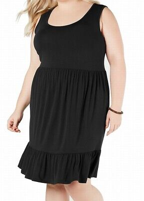 Style & Co. Womens Sheath Dress Black Size 3X Plus Ruffle-Hem Scoop-Neck $59 300