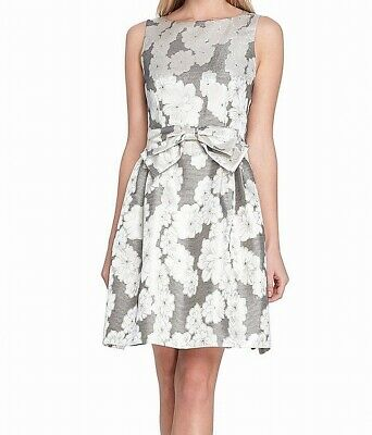 Tahari By ASL Womens A-Line Dress Silver Size 12P Petite Bow-Detail $148 527
