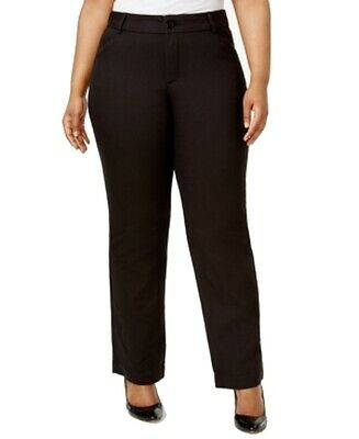 Lee Jet Black Womens Size 20W Plus Flat-Front Stretch Dress Pants $60 275