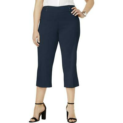 JM Collection Womens Pants Blue Size 2X Plus Short Capris Stretch $59 363