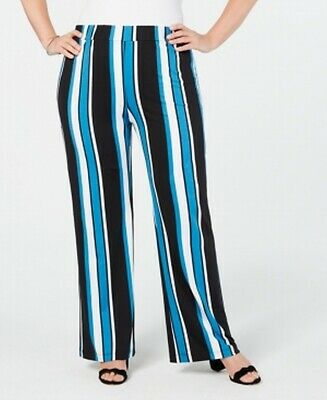 NY Collection Womens Pants Blue Size 3X Plus Pull-On Striped Stretch $54 260
