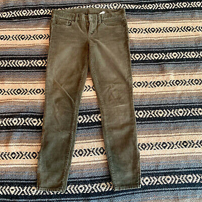 Gently Used Women's J Crew Army Green Skinny Straight Leg Corduroy Pants Sz 25