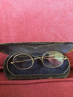 Antique Gold Framed Eye Spectacles & Case, great on a Teddy Bear
