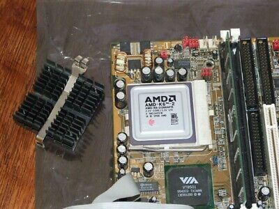 PC Partner AT / ATX motherboard with AMD K6-2-266MHz CPU & 128Mb Ram