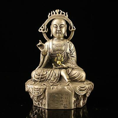china old Copper plating silver handmade gold drawing kshitigarbha statue d01F