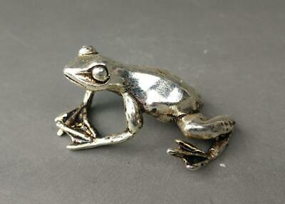 chinese old fengshui Tibet silver hand-carved frog statue 02