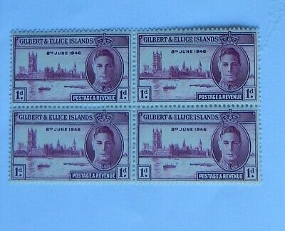 KGV1 GILBERT & ELLICE ISLANDS STAMP 1d BLOCK OF 4 VICTORY STAMPS MNH