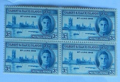 KGV1 GILBERT & ELLICE ISLANDS STAMP 3d BLOCK OF 4 VICTORY STAMPS MNH