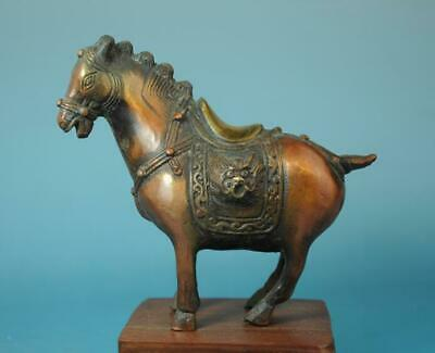 chinese old hand carving copper gilding zoology horse sculpture statue c02