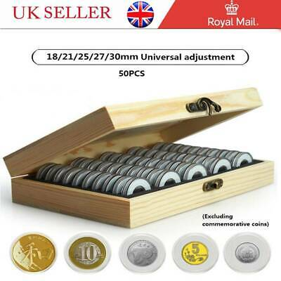 50/100 Capsules Wooden Coins Display Storage Box Case for Collectible Coin UK