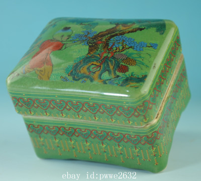 old china green glaze porcelain hand-made child box /qian long mark Cb01F