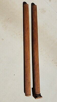 """#1 Pair Antique Solid Oak Fluted Round Columns 66"""" Tall ~ Heavy & Solid"""