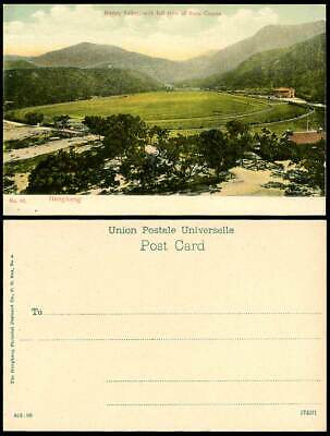 Hong Kong China Old Color Postcard Happy Valley Race Course Full View Racecourse