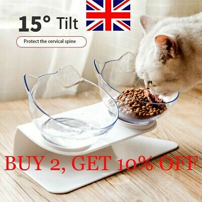 Cat Ears Shaped Cats Bowl Protect The Spine Pet Feeder Tilted Anti-slip ST