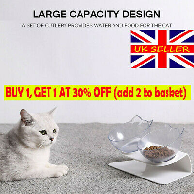 Cat Double Bowls Pet Food Water Bowl Dog Feeder with Raised Stand Pets Supply UK