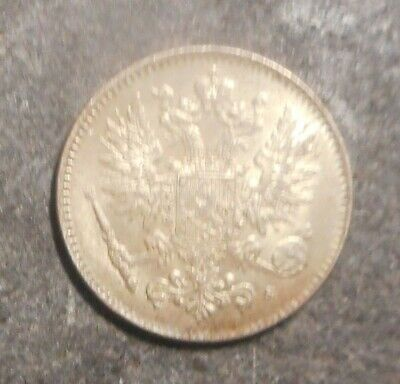 Finland under Russia 1917  50 penna   silver Coin B/UNC