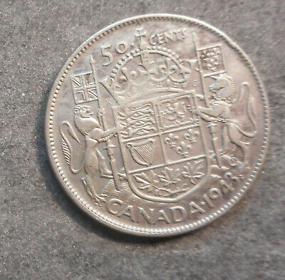 Canada 1943  KGV1  50 cent Silver Coin  Good Grade