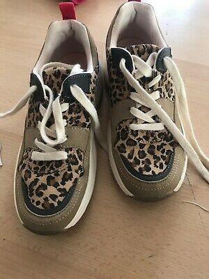Zara Girls Leopard Print Lace up Trainers Size 35
