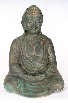 Antique Japanese Style Seated Bronze Meditation Buddha Statue - 18cm/7""