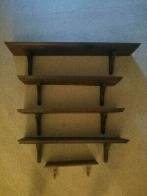 Antique Wooden Wall Shelf Set with Matching Wooden Brackets - Farmhouse/Rustic