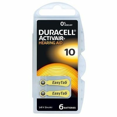 Duracell Activair Mercury Free Hearing Aid Batteries x60 Size 10 YELLOW