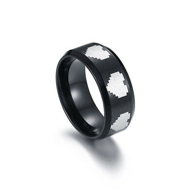 Pixel Heart Ring Stainless Steel Black Fashion Men Game Party Jewelry 8mm