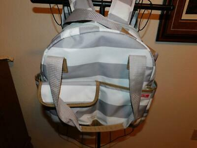 #0480 New NWOT IPACK 2 Piece Diaper Bag Stripe Insulated Bottle Pouch Pockets