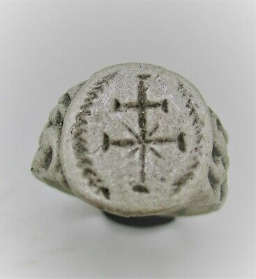 Late Roman Byzantine Crusaders Silver Seal Ring With Cross Motif