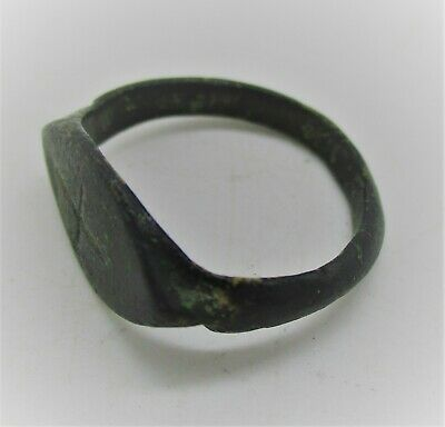Ancient Byzantine Crusaders Bronze Seal Ring With Cross Motif Ca 700-800Ad
