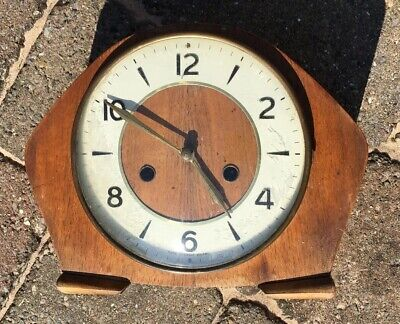 Antique Wooden Cased Smiths Mantle Clock Not Working No  Key Approx 7 1/4 Inc