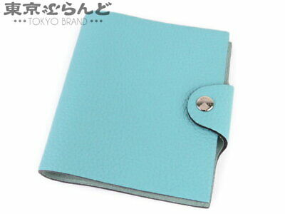 Hermes Ulysse Mini Notebook Cover Women Mens Togo Blue Atoll Xmarking With