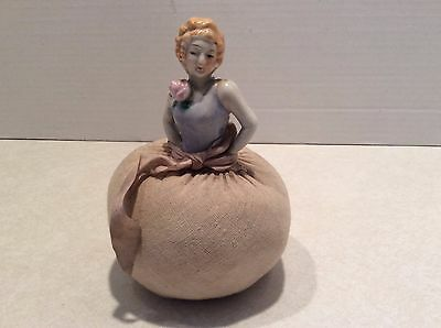 Vintage china half lady pin cushion